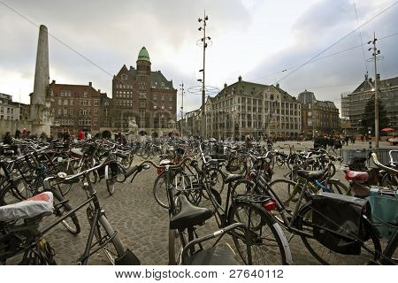 Thousands of bicycles on the Dam square in Amsterdam innercity the Netherlands