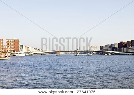 View on Amsterdam with the Jan Schaefferbrug in the Netherlands