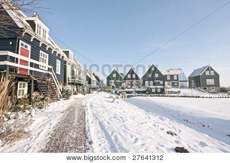 Wooden houses in Marken in winter in the Netherlands