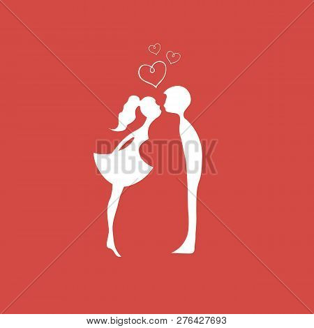 Red Silhouettes Of Kissing Boy