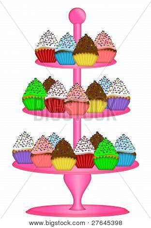 Cupcakes On Three Tier Cake Stand Illustration