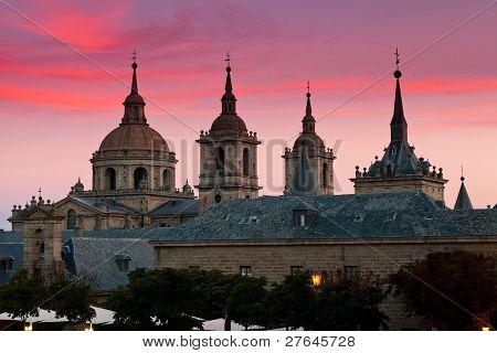 San Lorenzo De El Escorial Monastery , Spain At Dusk