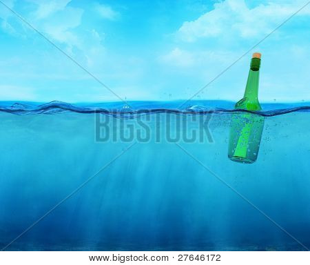3D Floating Bottle With Message On The Ocean
