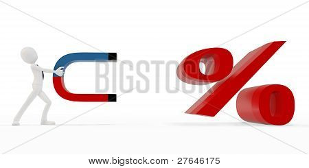 3D Man With Horseshoe Magnet And Procent