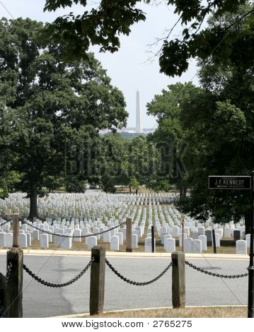Washington Monument And Arlington Cemetery