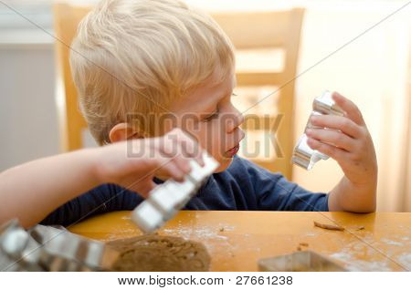 Boy Baking With Mom