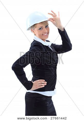 Portrait of attractive architect girl with hard hat