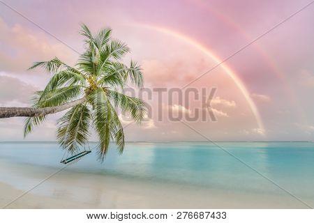 Exotic Beach Sunset Fantastic Rainbow