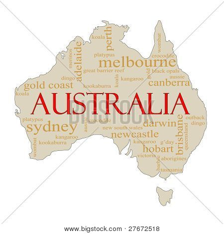 Australia Word Cloud Map