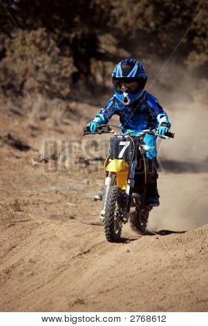 Young Boy Riding Motorcross Dirtbike