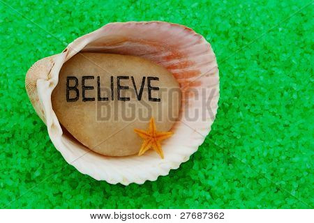 Believe Stone In Seashell