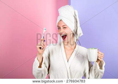 poster of Woman With Toothbrush. Morning Treatments. Health. Teeth. Morning. Morning Procedures. Daily Routine