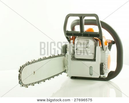 Chainsaw Over The White Background