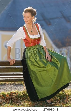 Old Bavarian woman in traditional dress