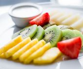 Fruit Plate Served - Fresh Fruits And Healthy Eating Styled Concept poster