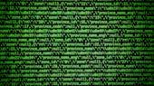 Abstract Green Screen Coding Hacker Concept, Computer Script Code. Green Json String Blur Background poster
