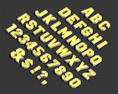 Alphabet. Alphabet Letters And Numbers. Vector Alphabetic Letters And Numbers. 3d Modern Alphabet. V poster