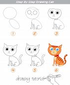 Drawing Tutorial. Step By Step Drawing Cat. Easy To Drawing Cat For Children. Funny Cartoon Characte poster