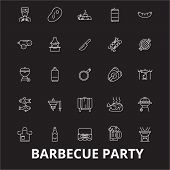 Barbecue Party Editable Line Icons Vector Set On Black Background. Barbecue Party White Outline Illu poster