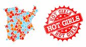 Composition Of Snowflake And Flame Map Of Koh Samui And Hot Girls Grunge Stamp Seal. Mosaic Vector M poster
