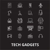Tech Gadgets Editable Line Icons Vector Set On Black Background. Tech Gadgets White Outline Illustra poster