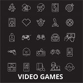Video Games Editable Line Icons Vector Set On Black Background. Video Games White Outline Illustrati poster