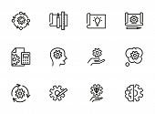 Creativity Line Icon Set. Set Of Line Icons On White Background. Brainstorm Concept. Idea, Head, Cog poster