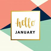 Hello January Hew Year Creative, Minimal Winter Greeting Card. poster