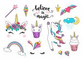 Cute Unicorn Vector With Cupcake, Dancing Little Horse, Head With Flowers, Rainbow, Diamond, Ice Cre poster