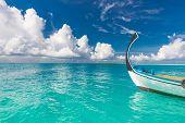 Inspirational Maldives Beach Design. Maldives Traditional Boat Dhoni And Perfect Blue Sea With Lagoo poster