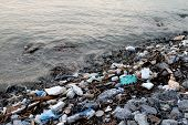 Waste Seaside, Garbage On Beach Pollution, Waste Trash In River, Toxic Waste, Wastewater, Dirty Wate poster
