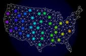 Mesh Vector Map Of United States With Glare Effect. Light Spots Have Bright Spectrum Colors. Abstrac poster