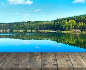 Vintage Wooden Boards With Forest Lake. Ecology Concept. Beautiful Nature In Forest. Wooden Table An poster