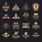 Barbecue Grill Logo Icons Set. Simple Illustration Of 16 Barbecue Grill Logo Vector Icons For Web poster