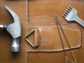 Leather Crafting Diy Tools Still Life. Handmade And Craft Concept. poster