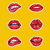 Set Of Sexy Female Lips In Red Glossy Lipstick, Seductive, Kissing, Bitten, With Tongue, Lollipop, C poster