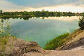 Blue Chalk Quarries Landscape Closeup In Summertime. City Bereza, Belarus poster