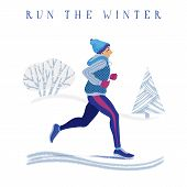 Winter Running Concept - Young Athletic Man In Warm Clothes Enjoying Jogging In Park, Flat Cartoon V poster