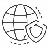 Secured Global Data Icon. Outline Secured Global Data Icon For Web Design Isolated On White Backgrou poster
