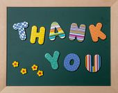 Colorful Letters Shaping The Word Thank You On Green Board With Wooden Frame poster