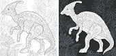 Coloring Page. Dinosaur Collection. Colouring Picture With Hadrosaur Drawn In Zentangle Style. poster