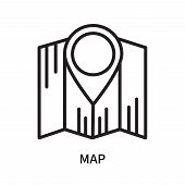 Map Icon Isolated On White Background. Map Icon Simple Sign. Map Icon Trendy And Modern Symbol For G poster