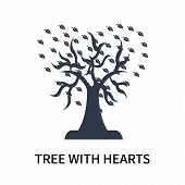 Tree With Hearts Icon Isolated On White Background. Tree With Hearts Icon Simple Sign. Tree With Hea poster