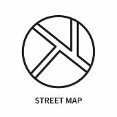 Street Map Icon Isolated On White Background. Street Map Icon Simple Sign. Street Map Icon Trendy An poster