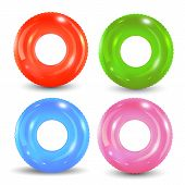 Swim Rings Set On White Background. Inflatable Rubber Toy. Lifebuoy Colorful Vector Collection. Summ poster