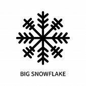 Big Snowflake Icon Isolated On White Background. Big Snowflake Icon Simple Sign. Big Snowflake Icon  poster