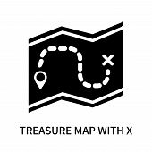 Treasure Map With X Icon Isolated On White Background. Treasure Map With X Icon Simple Sign. Treasur poster