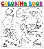 Coloring Book Dinosaur Subject Image 4 - Eps10 Vector Picture Illustration. poster