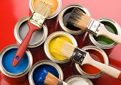 stock photo of paint brush  - Paint brush and cans - JPG