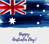 Happy Australia Day. Holiday Background With Grunge Watercolor Painted Australia Flag poster